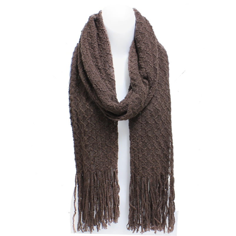 Brown Winter Honeycomb Rectangle Scarf with Fringe