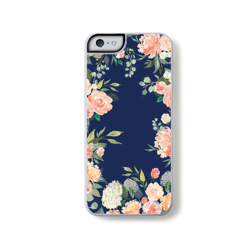 Pink watercolor flowers and leaf boarder on Navy Blue for iPhone 5