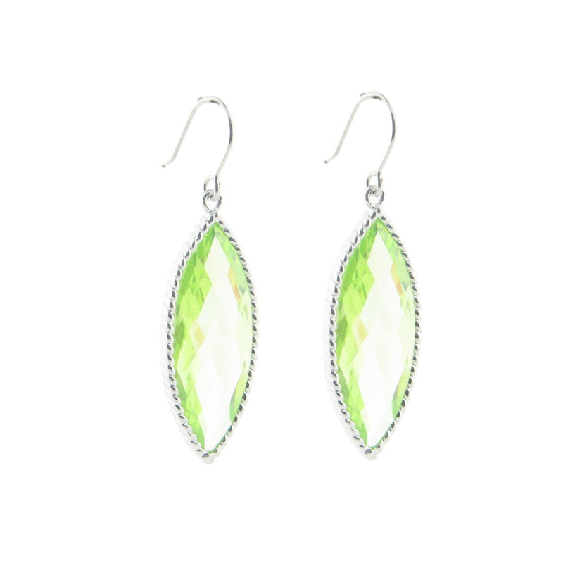 Light Green Marquise Crystal Earrings in .925 Sterling Silver