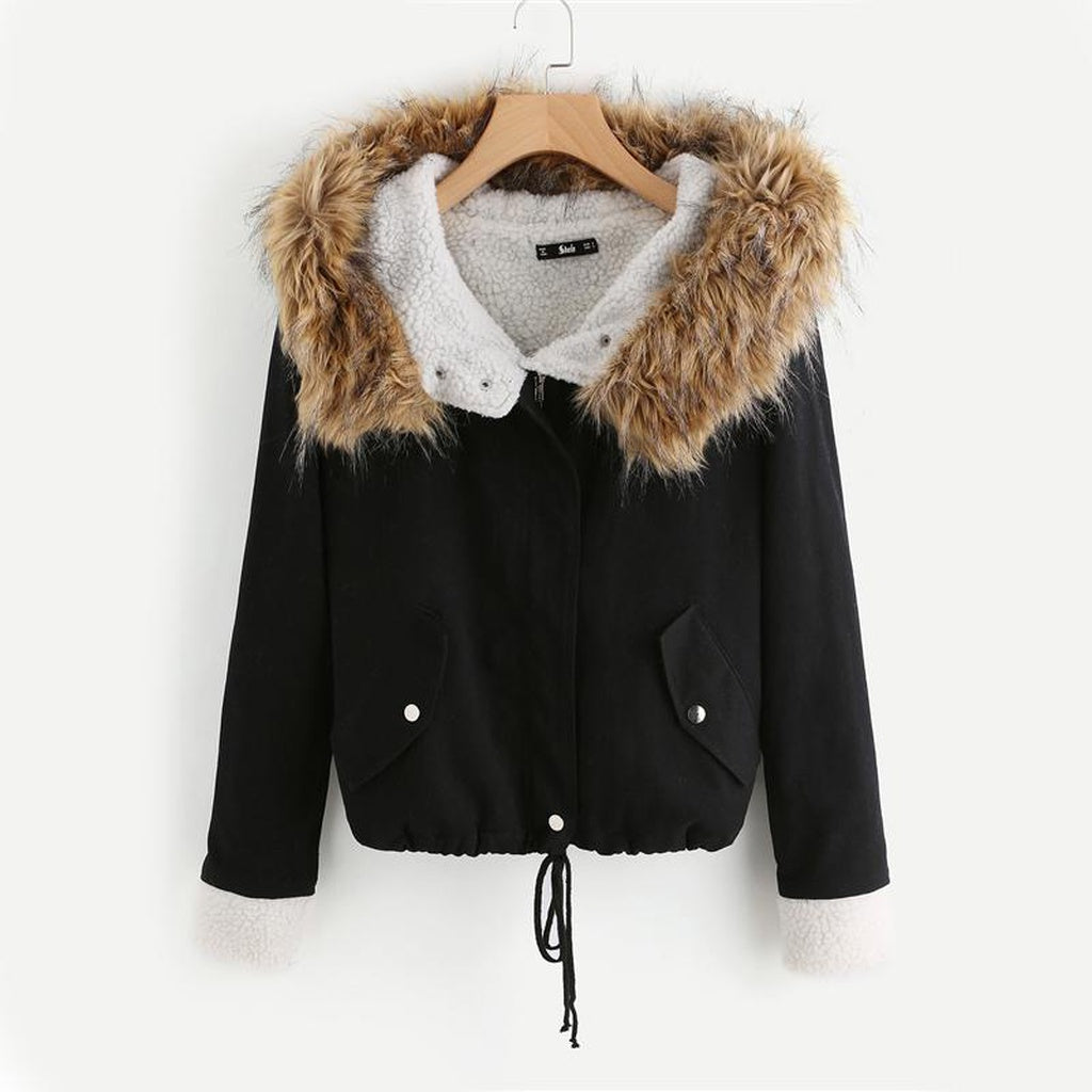 Black Winter Jacket With Faux Fur Trim Hood