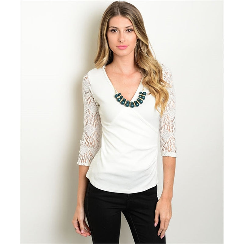 Women's Lace Blouse Long Sleeve With Necklace