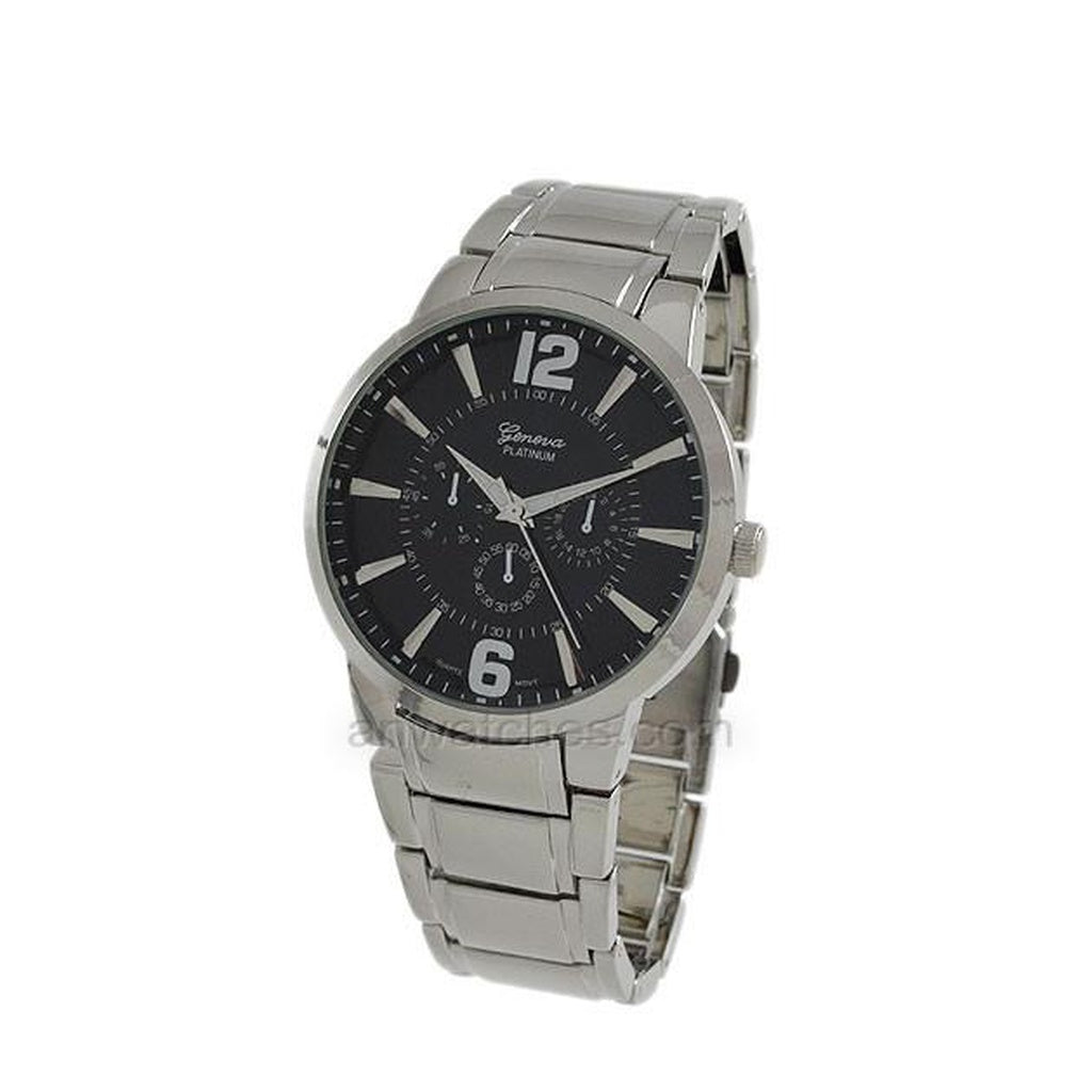 Men's Geneva Stainless Steel Black Face Watch
