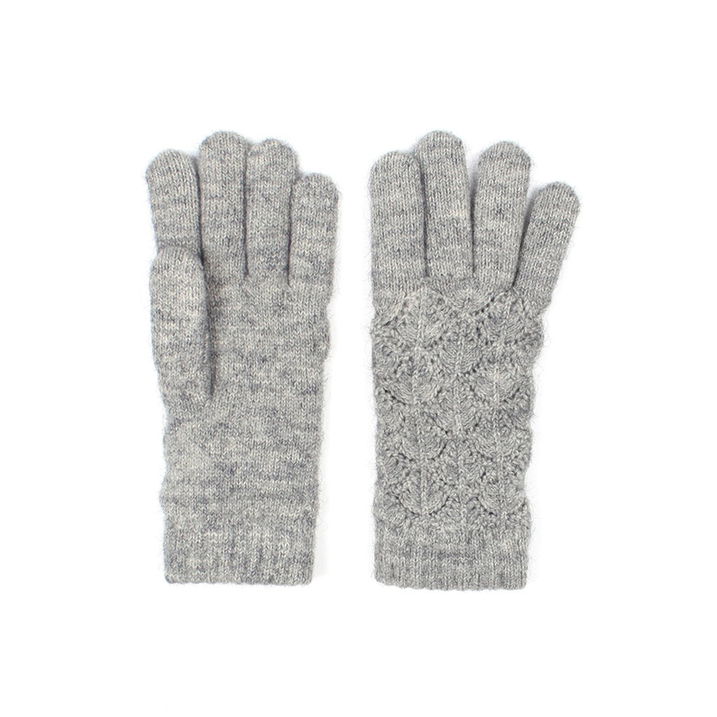Womens Lace Knit Winter Gloves Fleece Lined