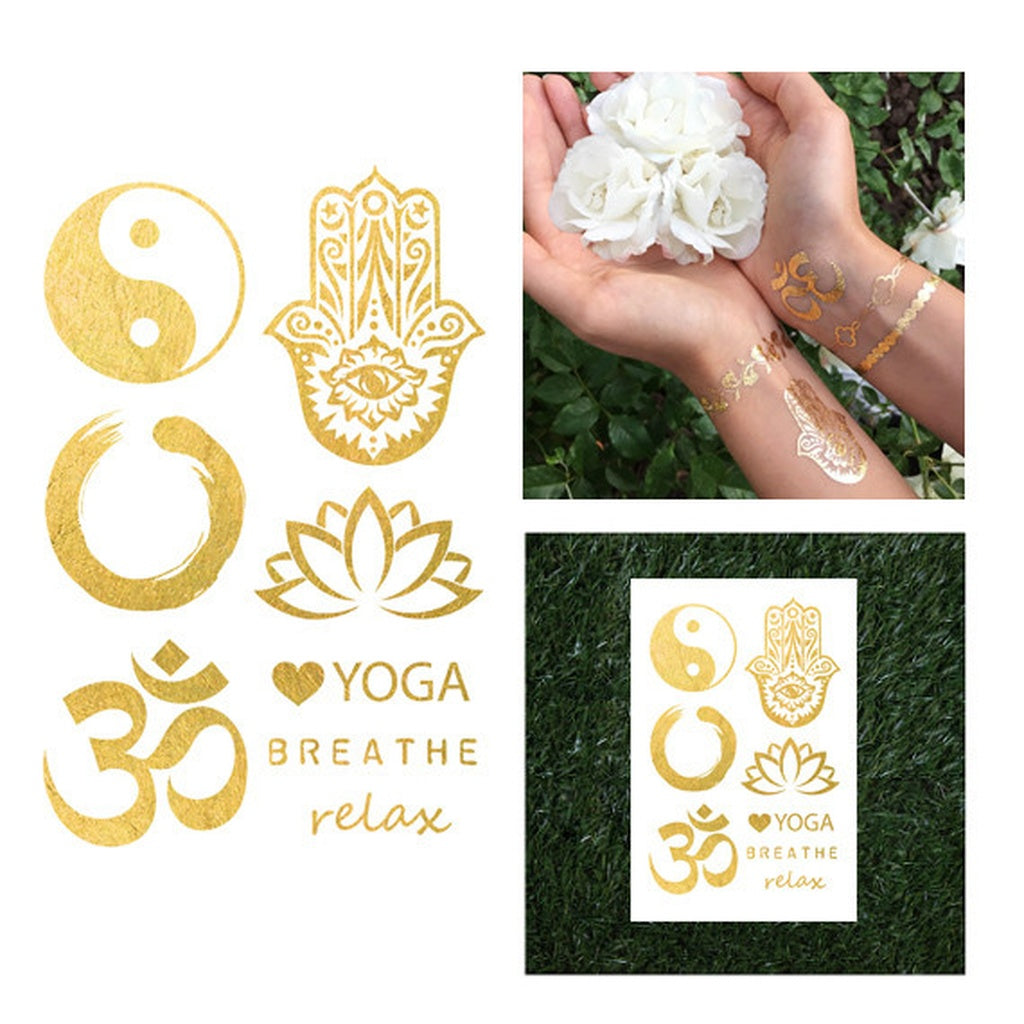 Yoga Buddhism Gold Metallic Temporary Tattoo Set