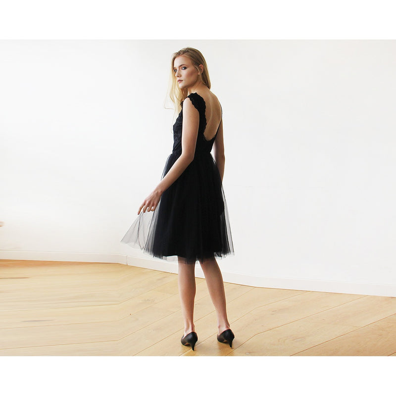 Lace And Tulle Black Sleeveless Midi Dress 1159