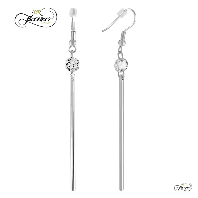 Long Bar Dangle Earrings, 925 Sterling Silver, Silver Plated Bar Drop Earrings