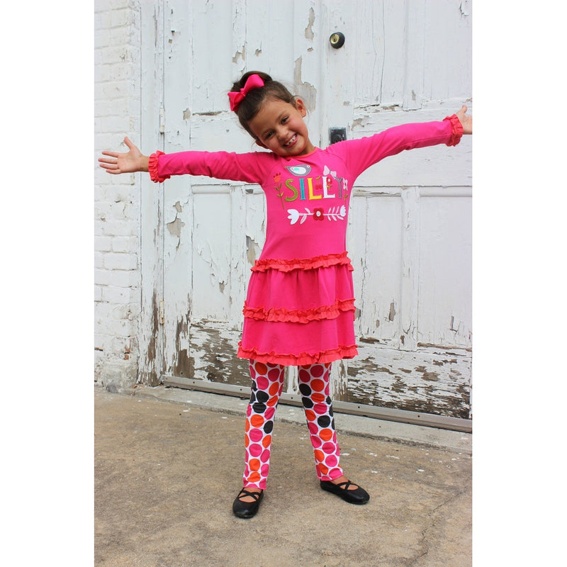"Girls ""Silly"" Applique Dress & Pant Set"
