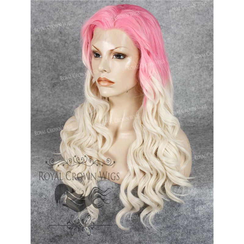 "24"" Synthetic Lace Front with Wave Texture in Pink Root to White Blonde Ombre"