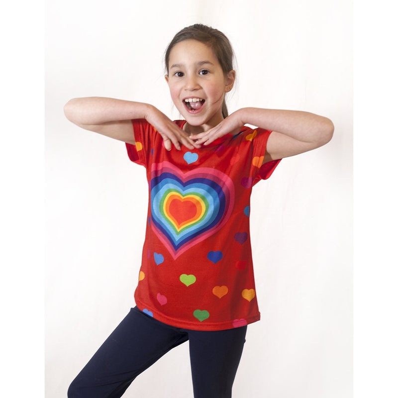 hearts - Girl printed red T shirt