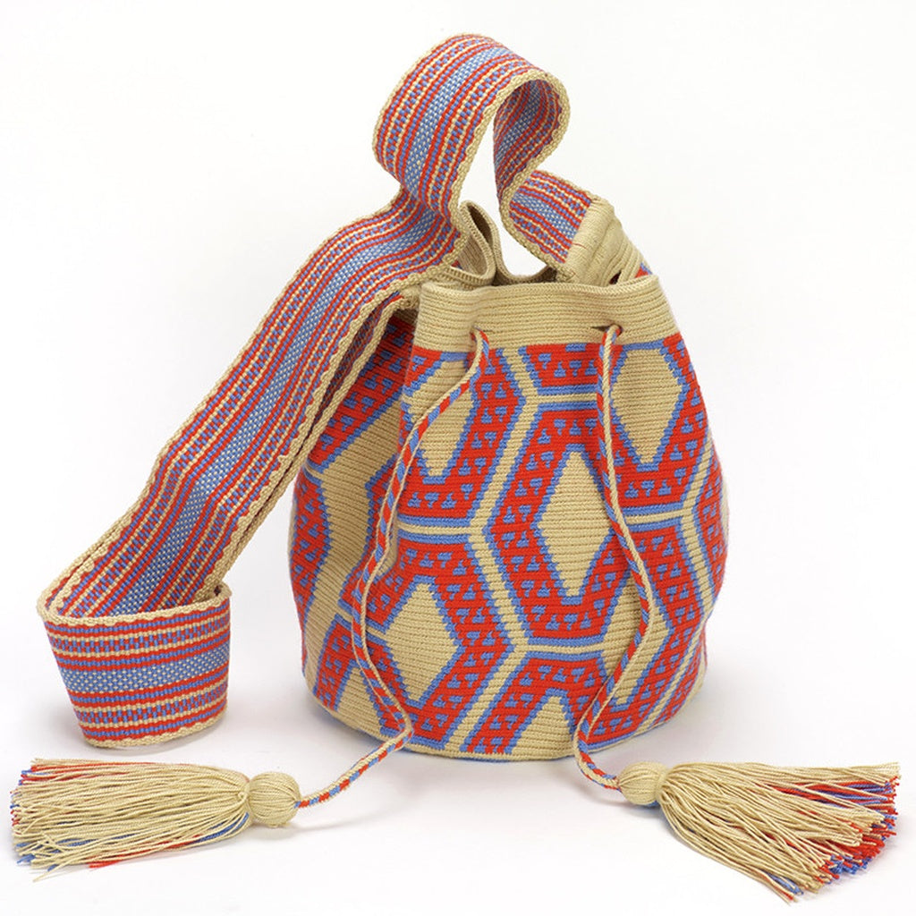 Uleisa Medium Wayuu Crossbody Bag - Beige