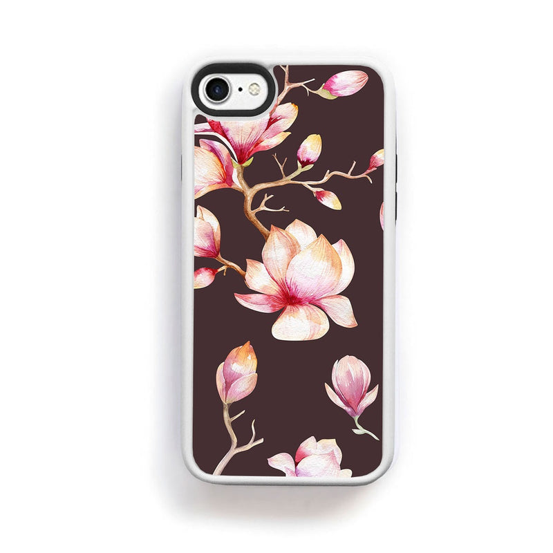 Magnolia flwoers large on maroon for iPhone 7