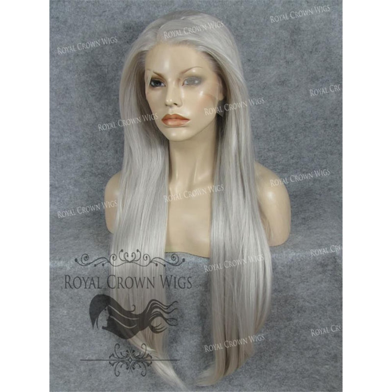 "30"" Heat Safe Synthetic Straight Lace Front ""Hera"" in Gray and White Mix"