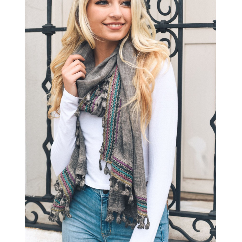 Boho Multi-Color Tassel Trim Grey Scarf