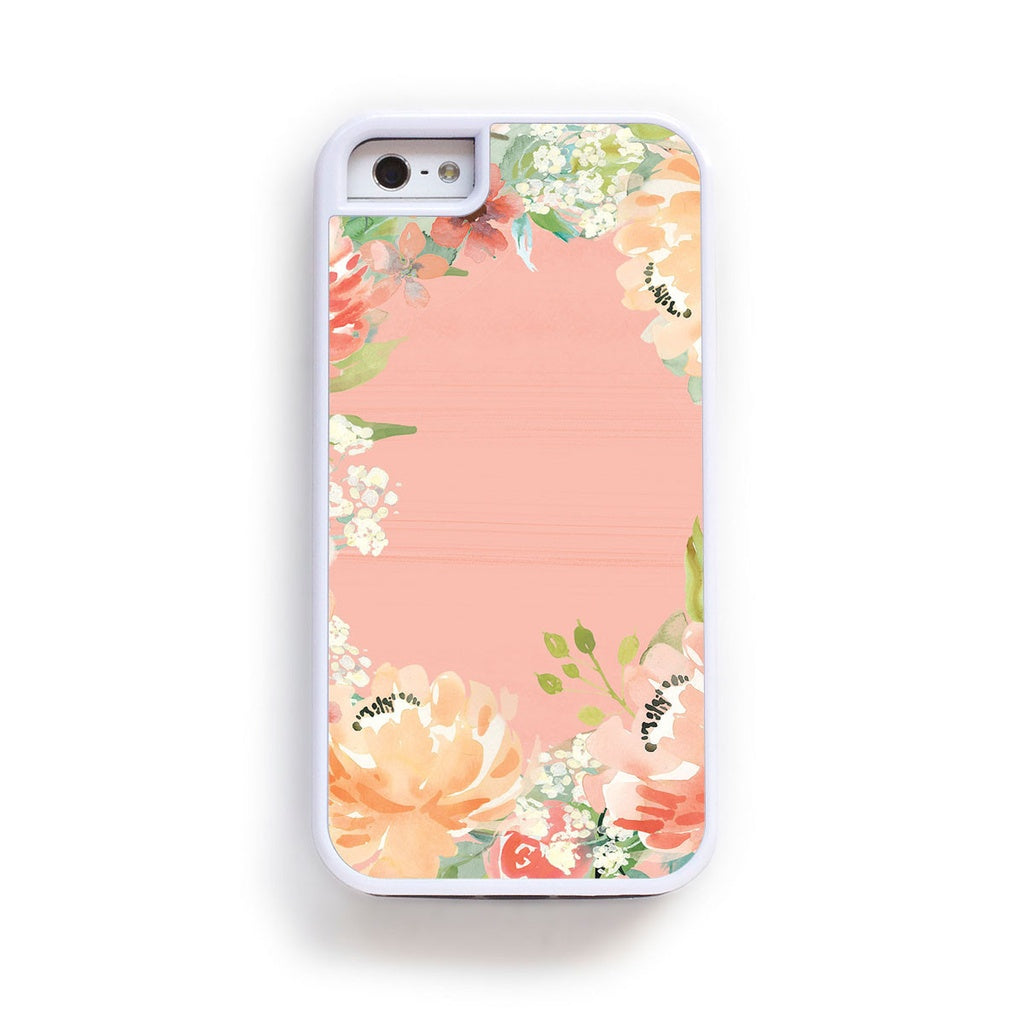 Watercolor peach pink flowers on pink for iPhone 6