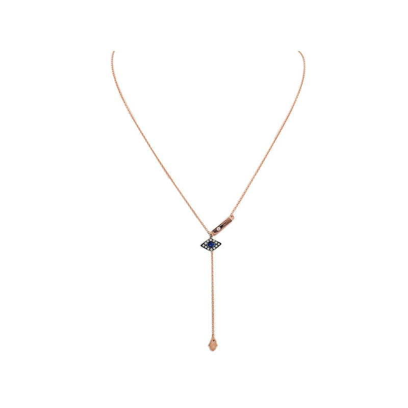"Rose Gold Plated Silver Hamsa and Eye Lariat Necklace, 15.5"" + 2"" ext"
