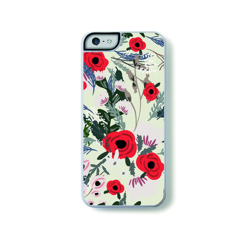 Red and pink vintage flowers on creme for iPhone 5