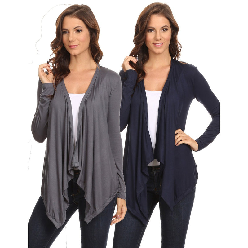 2 Pack Women's Cardigan Short Drape Open Front S to 3X Athleisure Made in the USA
