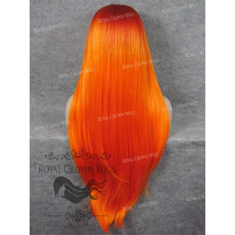 "30"" Heat Safe Synthetic Straight Lace Front ""Hera"" in Red Rooted Fiery Orange"