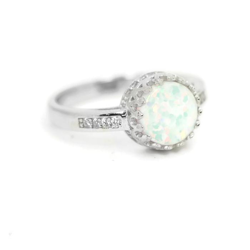 Sterling Silver Round Opal Crown Halo Ring
