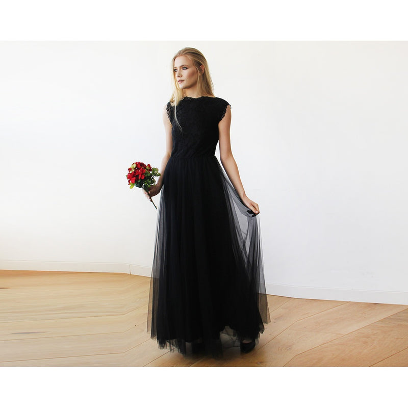 Black Tulle and Lace Sleeveless Maxi Gown 1145