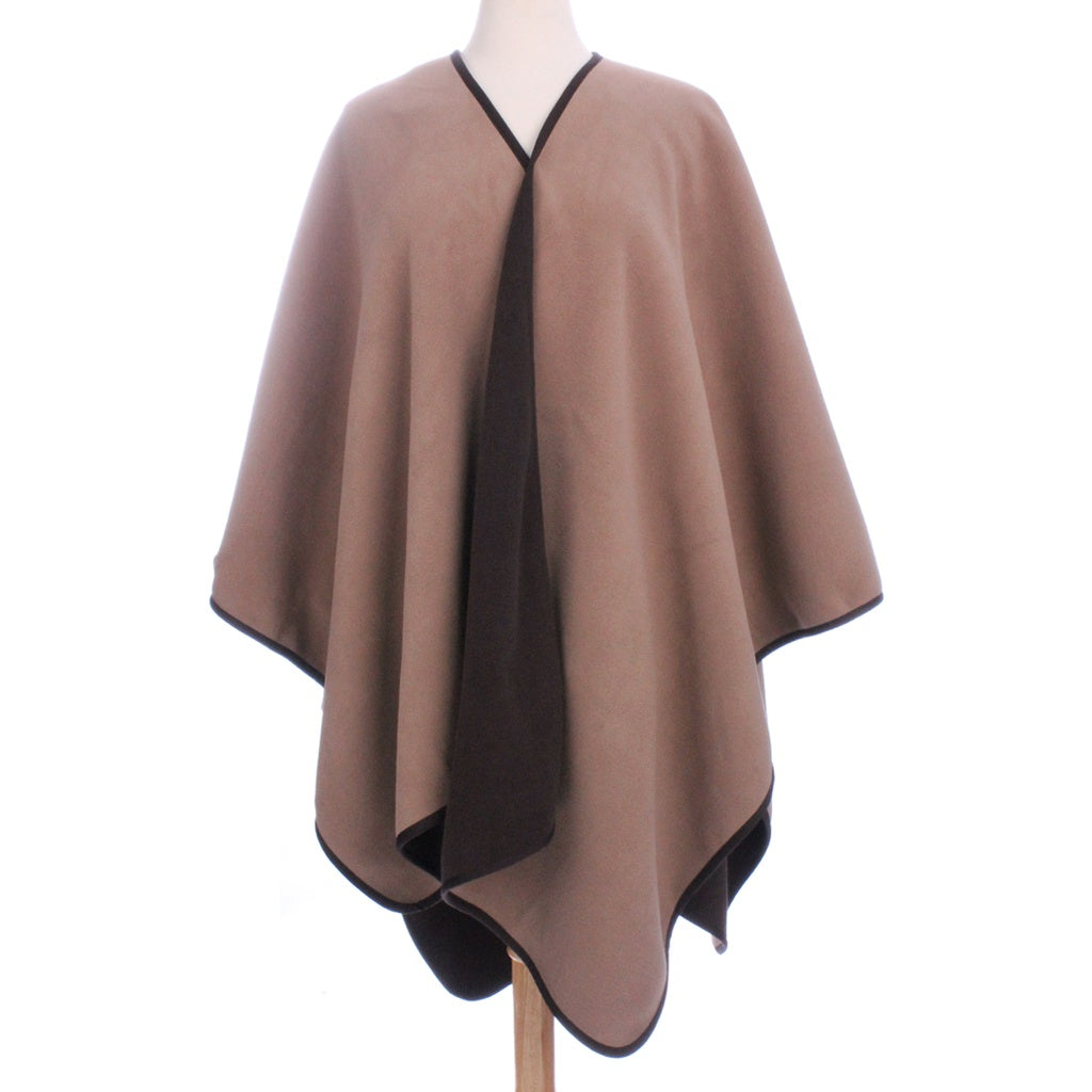 Womens Reversible Fleece Poncho Brown / Camel