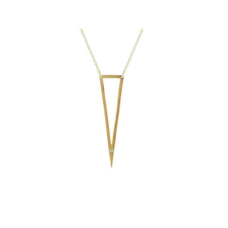 "Open Triangle Cz Pendant Necklace in Silver Gold Plated, 16""+2"""