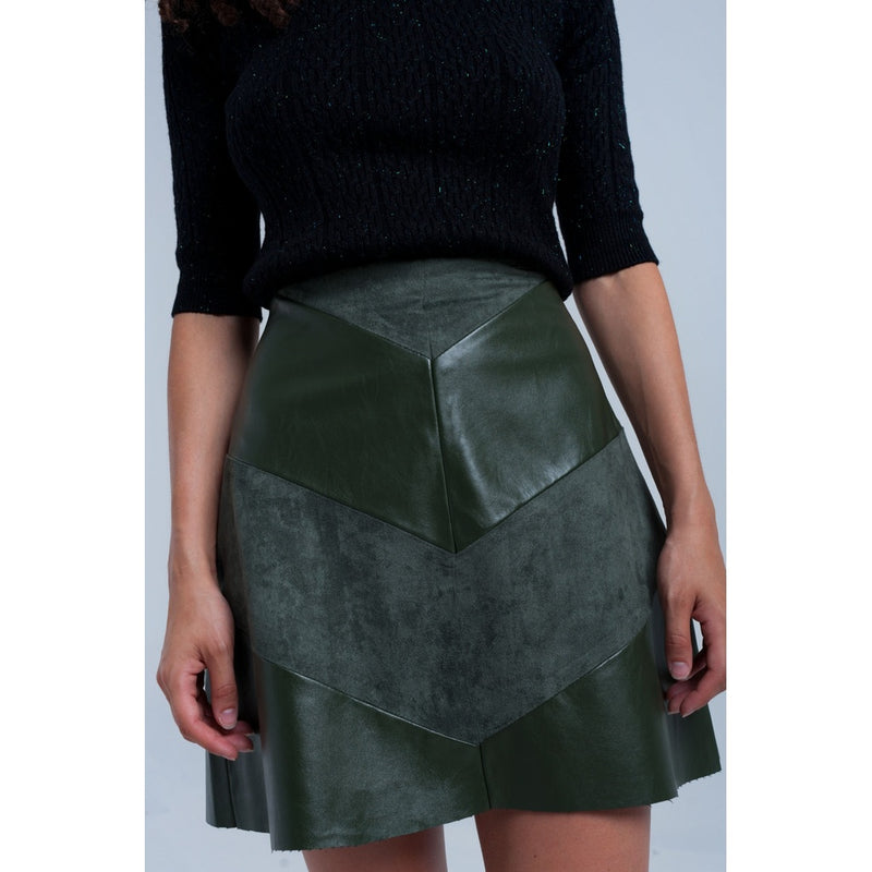 Khaki skirt with mixed fabrics