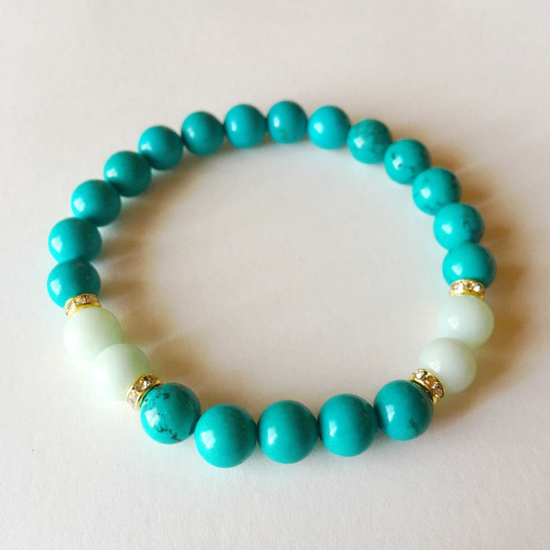 Manifest & Good Fortune Bracelet ~ Amazonite & Chinese Turquoise Bracelet w/ Gold Plated Swarovski Crystal Accents