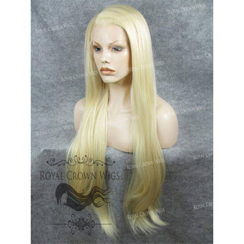 "30"" Heat Safe Synthetic Straight Lace Front ""Hera"" in Ash Blonde"