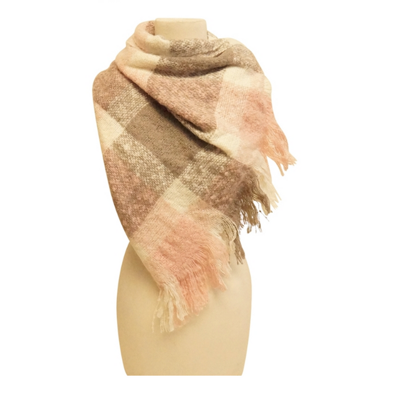 Mechaly Women's Plaid Pink and Grey Vegan Scarf