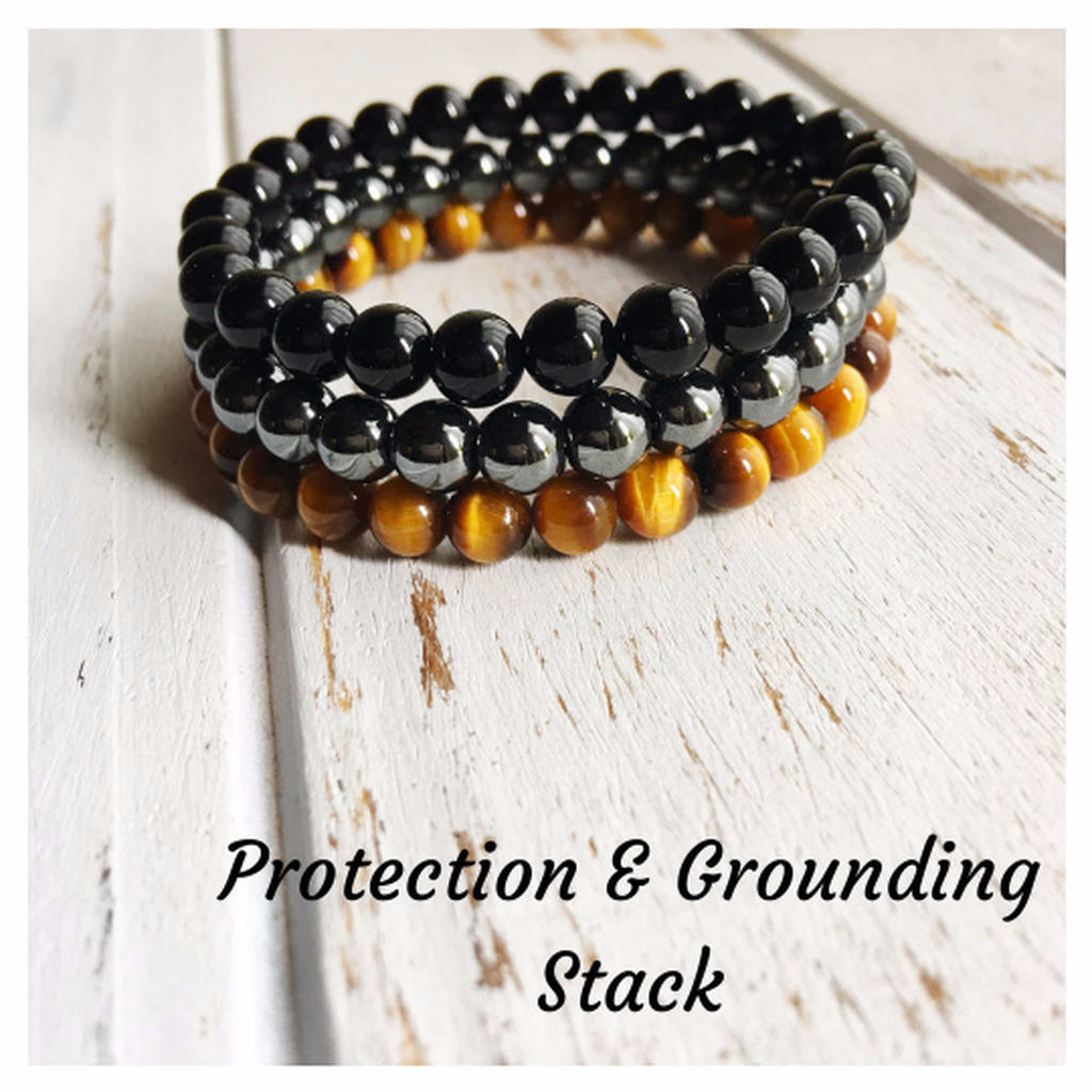 Protection & Grounding Stack ~ 6mm Genuine Black Onyx, Hematite and Tiger Eye Bracelets