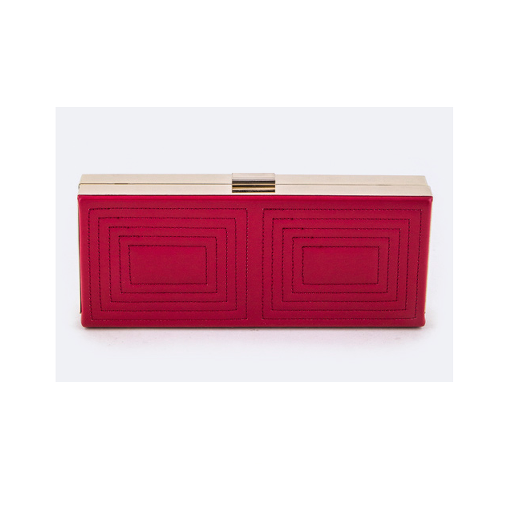 Red Embroidered Square Clutch