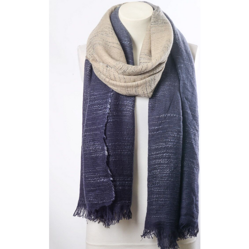 Beautiful Navy Blue & Ivory Ombre Winter Long Fringe Scarf