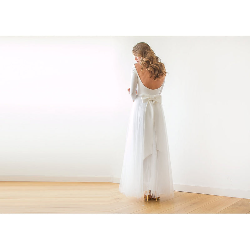 Ivory Open Back Tulle Maxi Dress 1050