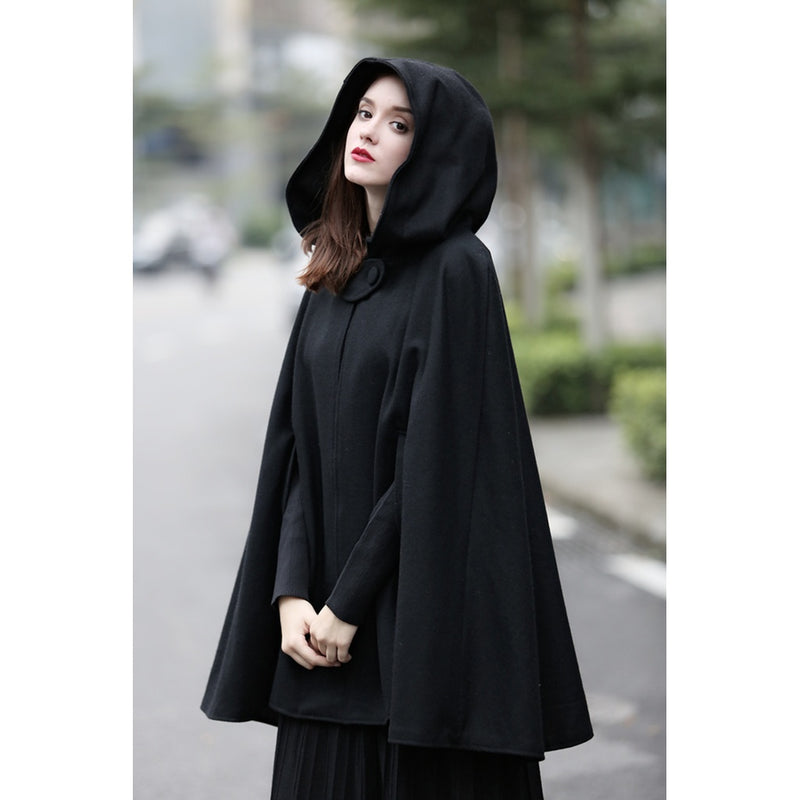 hooded black wool coat