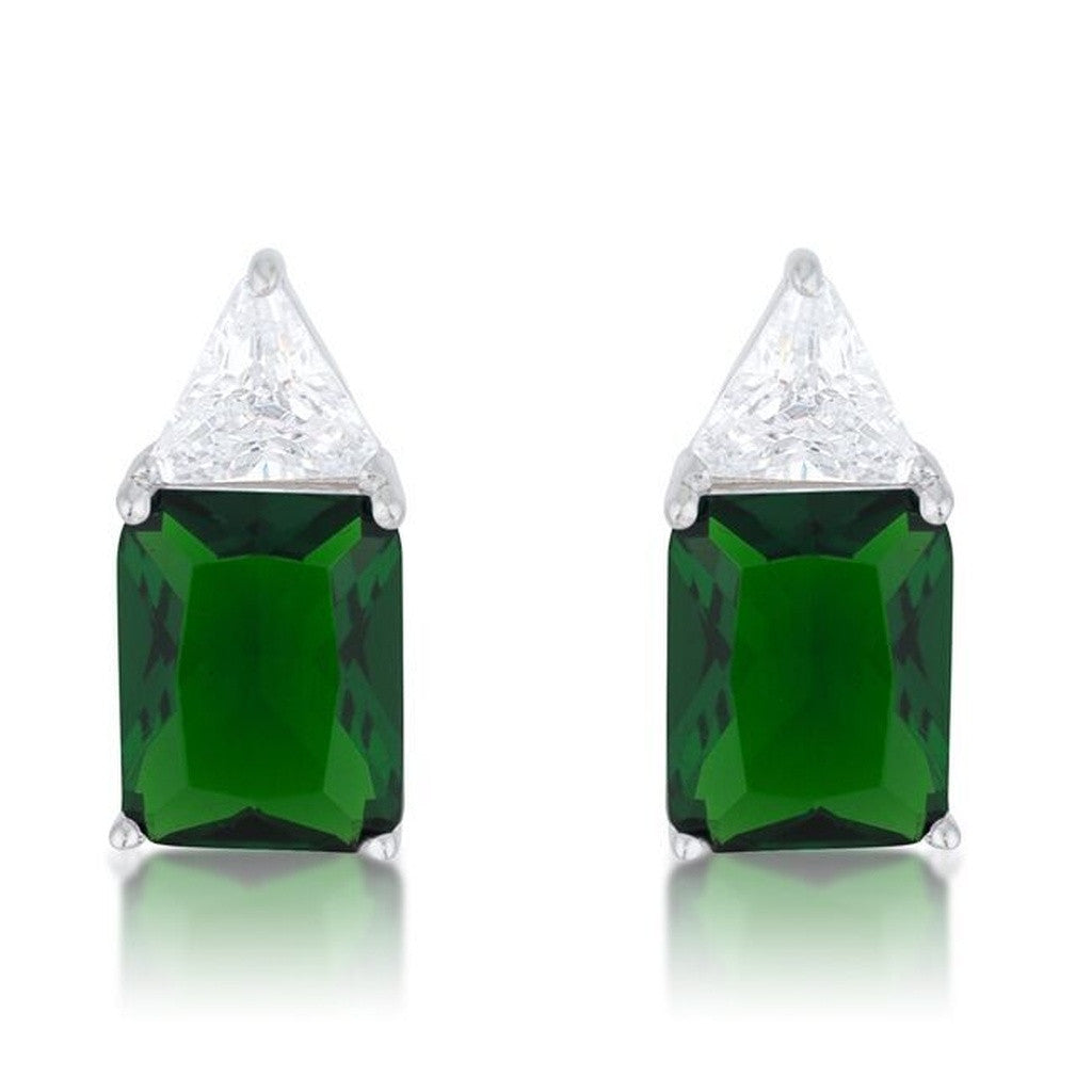 Emerald CZ Sterling Silver Studs