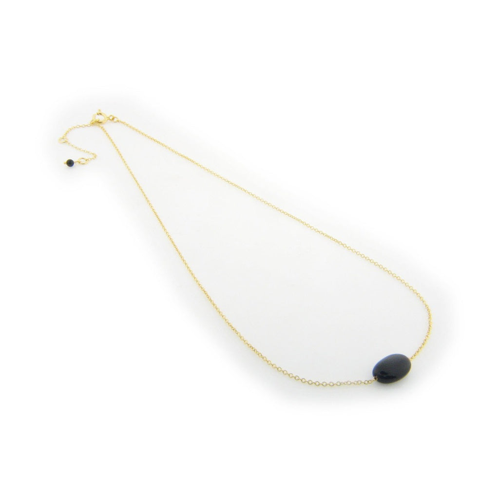 FRONAY CO, GOLD & ONYX STONE NECKLACE, 16""