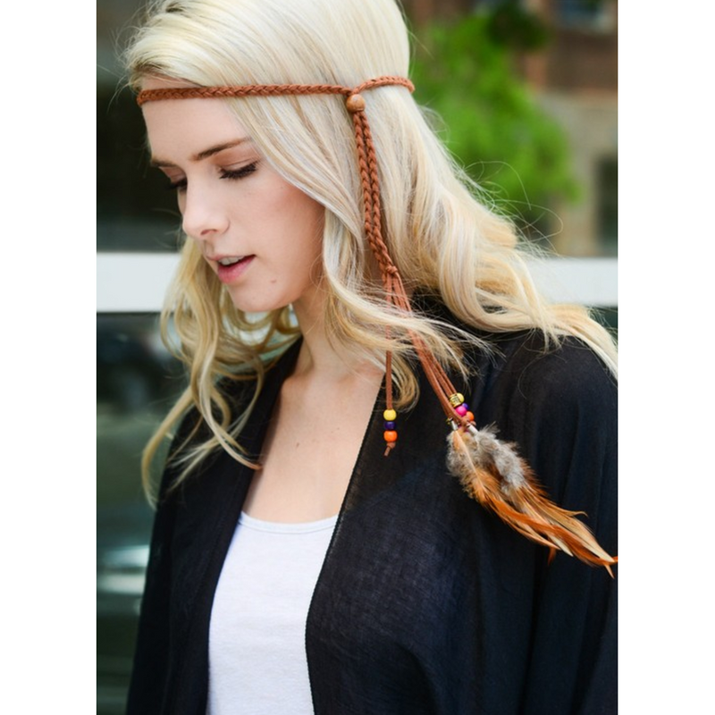Boho Braided Feather Headband & Necklace in One