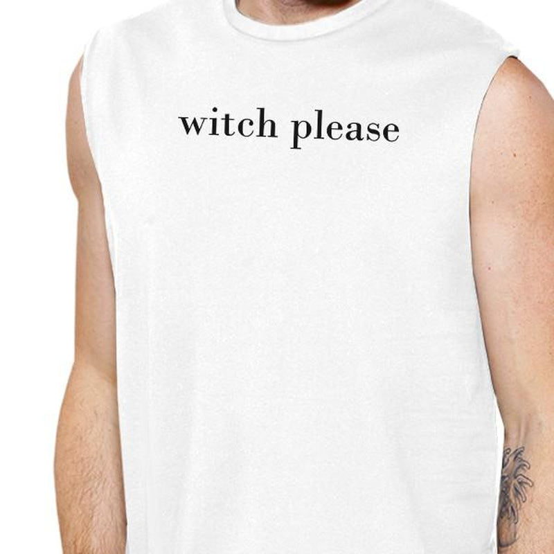 Witch Please Mens White Muscle Top