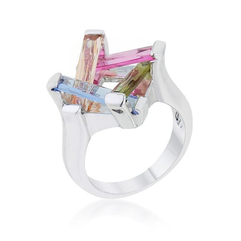 Multicolor CZ Geometric Ring
