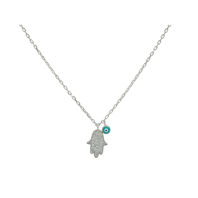 Mini Hamsa Hand & Evil Eye Necklace