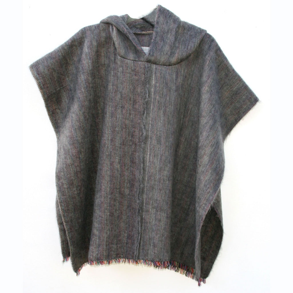 100% Alpaca Poncho in Charcoal