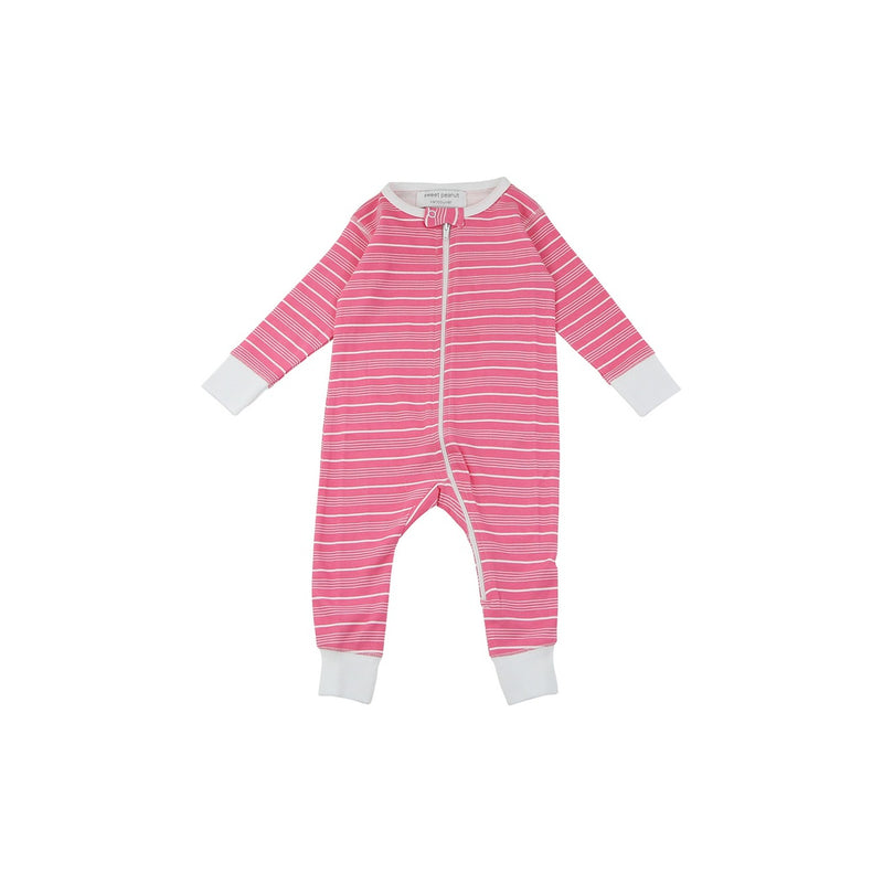 long romper in pink stripes
