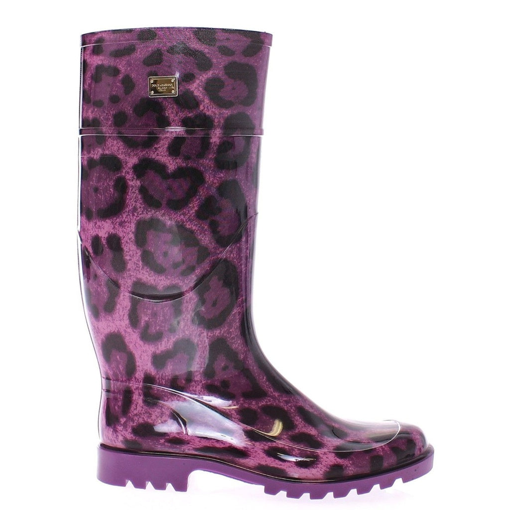 Dolce & Gabbana Purple Leopard Rubber Rain Boots Shoes Stivali