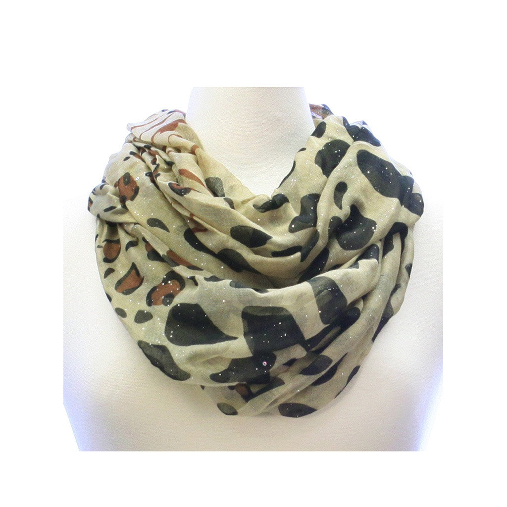 Khaki and Black Glitter Animal Print Wide Infinity Scarf Lightweight