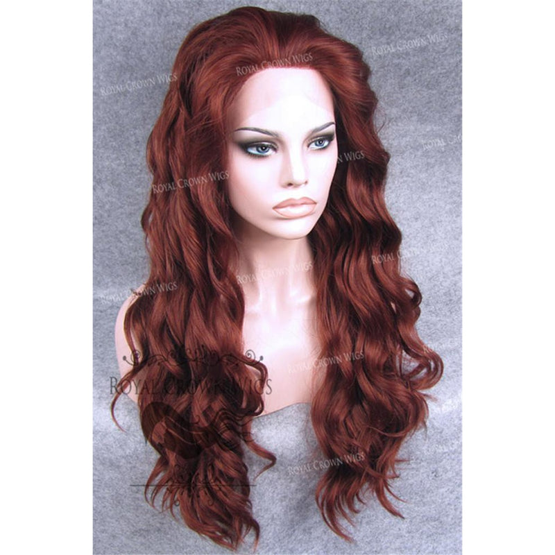 "24"" Synthetic Lace Front with Wave Texture in Rich Red"