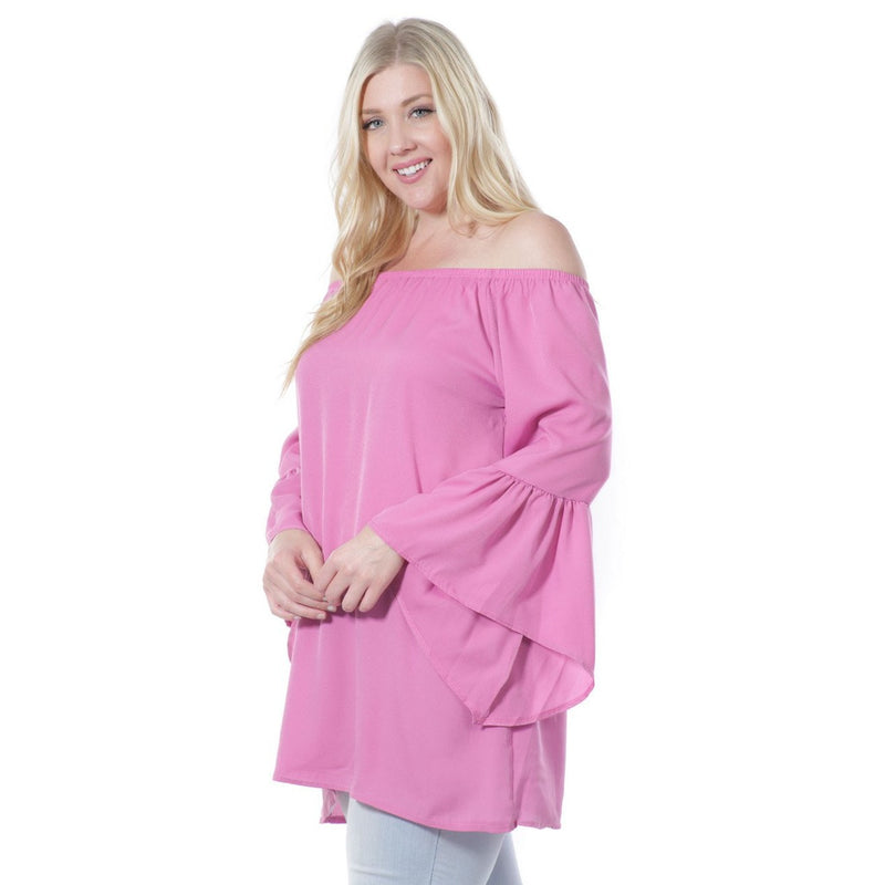 Women's Fashion Long Bell Sleeve Blouse Coral (Small to 3XL Plus Sizes)