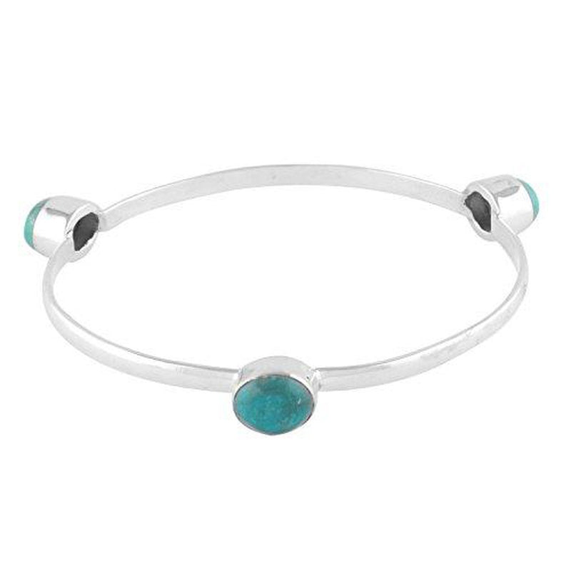 Sterling Silver Natural Bezel Set Turquoise 3 Stone Bangle Bracelet