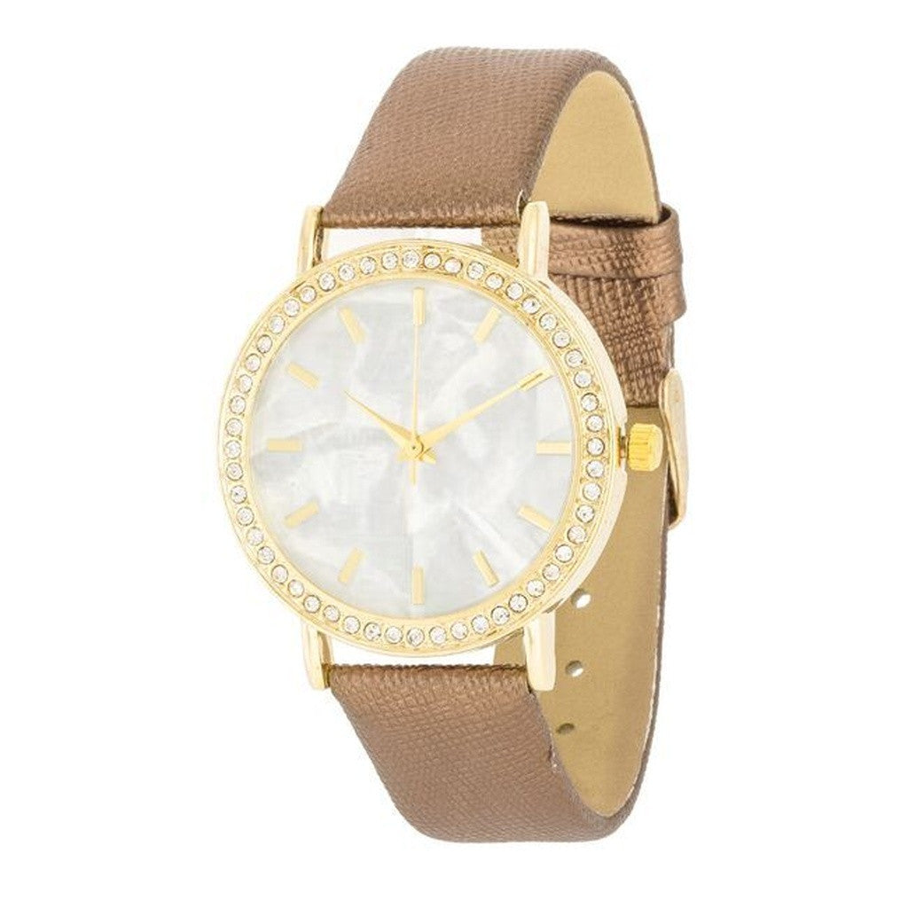 Gold Pearl Watch With Crystals