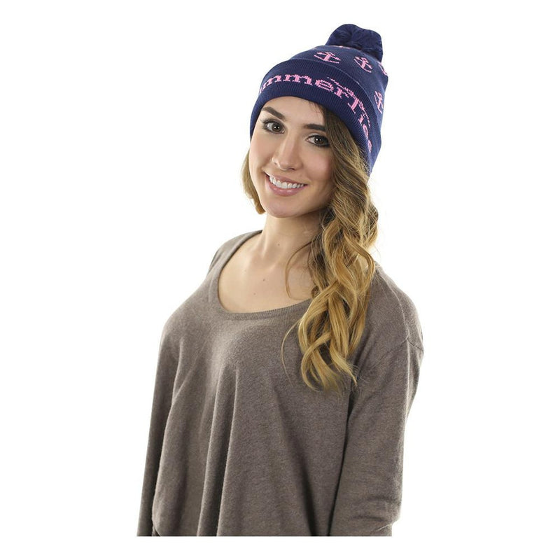Anchor Winter Hat - Pink on Navy